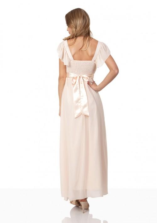 Strassverziertes Abendkleid aus Chiffon in Beige - günstig bestellen bei VIP Dress