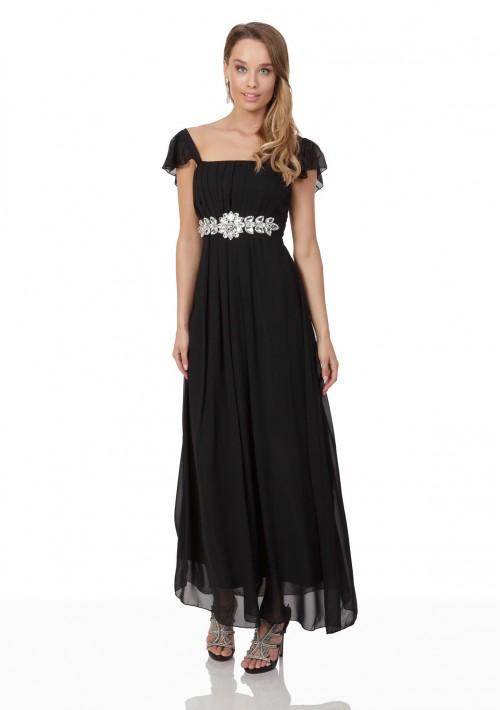 Schwarzes Chiffon-Abendkleid mit auffälliger Taillenzierde - günstig kaufen bei vipdress.de