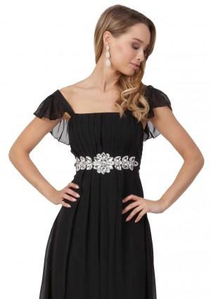 Schwarzes Chiffon-Abendkleid mit auffälliger Taillenzierde - hier günstig online bestellen