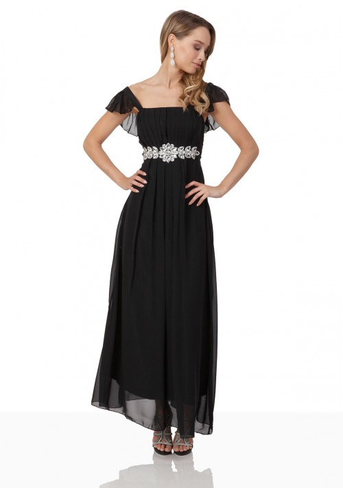 Schwarzes Chiffon-Abendkleid mit auffälliger Taillenzierde - online bestellen bei vipdress.de