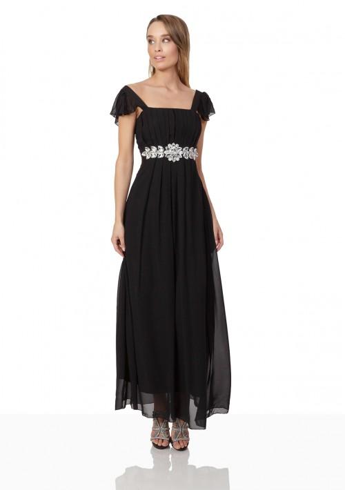 Schwarzes Chiffon-Abendkleid mit auffälliger Taillenzierde - bei VIP Dress günstig kaufen