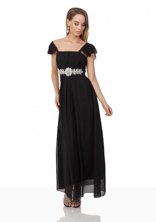 Schwarzes Chiffon-Abendkleid mit auffälliger Taillenzierde - bei vipdress.de günstig shoppen