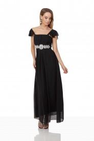 Schwarzes Chiffon-Abendkleid mit auffälliger Taillenzierde
