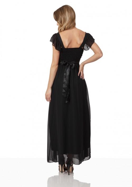 Schwarzes Chiffon-Abendkleid mit auffälliger Taillenzierde - günstig bestellen bei VIP Dress
