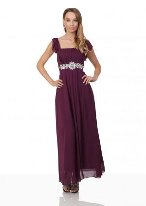 Abendkleid aus Lila Chiffon mit Rüschen und Strass-Applikation -