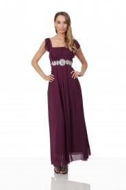 Abendkleid aus Lila Chiffon mit Rüschen und Strass-Applikation
