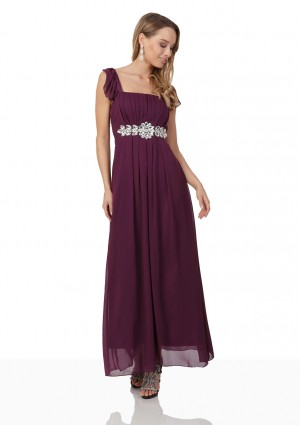 Abendkleid aus Lila Chiffon mit Rüschen und Strass-Applikation - günstig bei VIP Dress