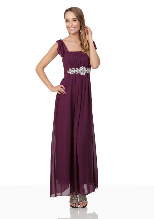 Abendkleid aus Lila Chiffon mit Rüschen und Strass-Applikation - hier günstig online bestellen