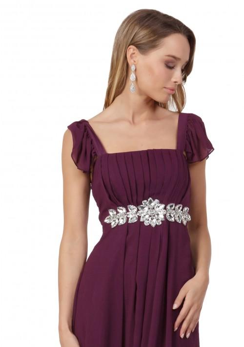 Abendkleid aus Lila Chiffon mit Rüschen und Strass-Applikation - bei VIP Dress günstig kaufen