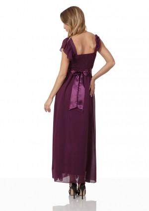 Abendkleid aus Lila Chiffon mit Rüschen und Strass-Applikation - online bestellen bei vipdress.de