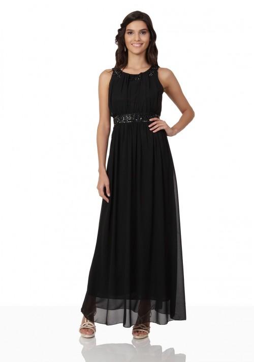 Schwarzes Abendkleid aus Chiffon mit Strassbändern - günstig bei VIP Dress