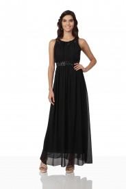 Schwarzes Abendkleid aus Chiffon mit Strassbändern