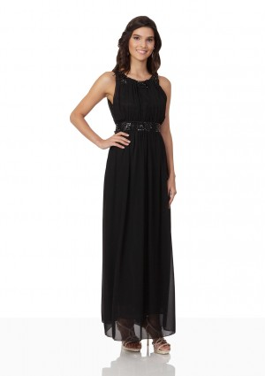Schwarzes Abendkleid aus Chiffon mit Strassbändern - schnell und günstig bei VIP Dress