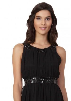 Schwarzes Abendkleid aus Chiffon mit Strassbändern - bei VIP Dress günstig kaufen