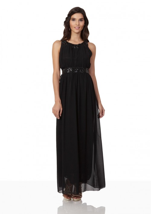 Schwarzes Abendkleid aus Chiffon mit Strassbändern - online bestellen bei vipdress.de