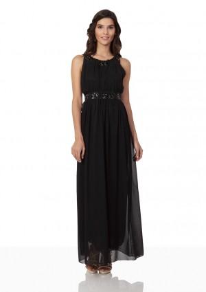Schwarzes Abendkleid aus Chiffon mit Strassbändern - günstig bestellen bei VIP Dress