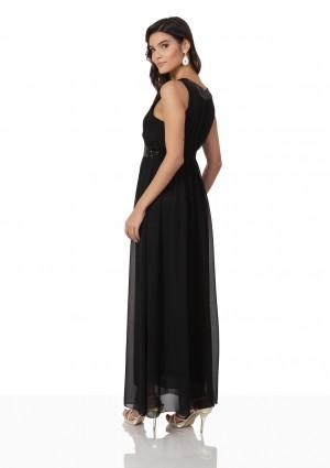 Schwarzes Abendkleid aus Chiffon mit Strassbändern - günstig kaufen bei vipdress.de