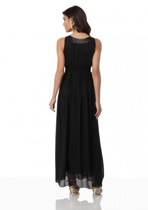 Schwarzes Abendkleid aus Chiffon mit Strassbändern - bei vipdress.de günstig shoppen