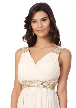 Strassverziertes Abendkleid aus Chiffon in Mattgold  - bei VIP Dress online bestellen