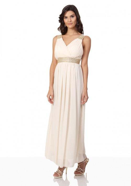 Strassverziertes Abendkleid aus Chiffon in Mattgold  - günstig bestellen bei VIP Dress