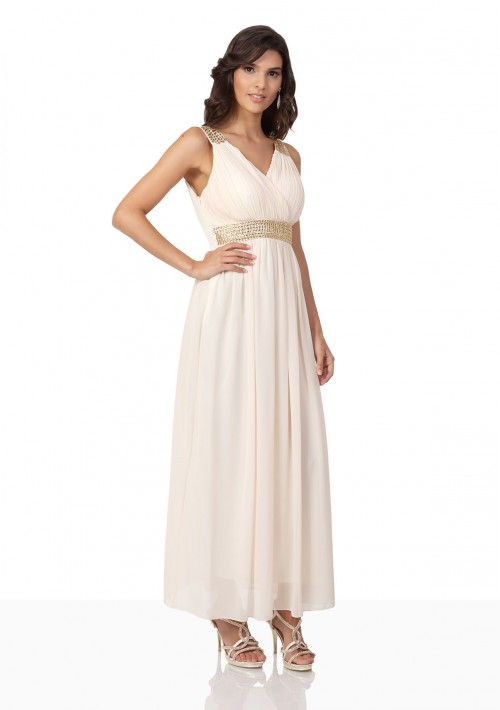 Strassverziertes Abendkleid aus Chiffon in Mattgold  - online bestellen bei vipdress.de