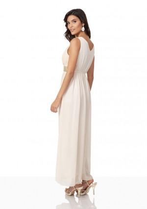 Strassverziertes Abendkleid aus Chiffon in Mattgold  - hier günstig online bestellen