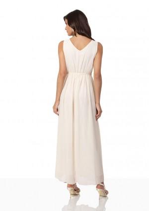 Strassverziertes Abendkleid aus Chiffon in Mattgold  - bei VIP Dress günstig kaufen