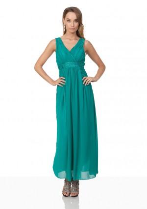 Abendkleid aus Chiffon mit Strassbesatz in Türkis - bei VIP Dress online bestellen