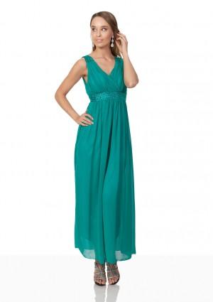 Abendkleid aus Chiffon mit Strassbesatz in Türkis - bei VIP Dress günstig kaufen