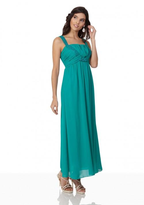 Chiffon-Abendkleid in Türkis mit Perlenbesatz - bei VIP Dress günstig kaufen