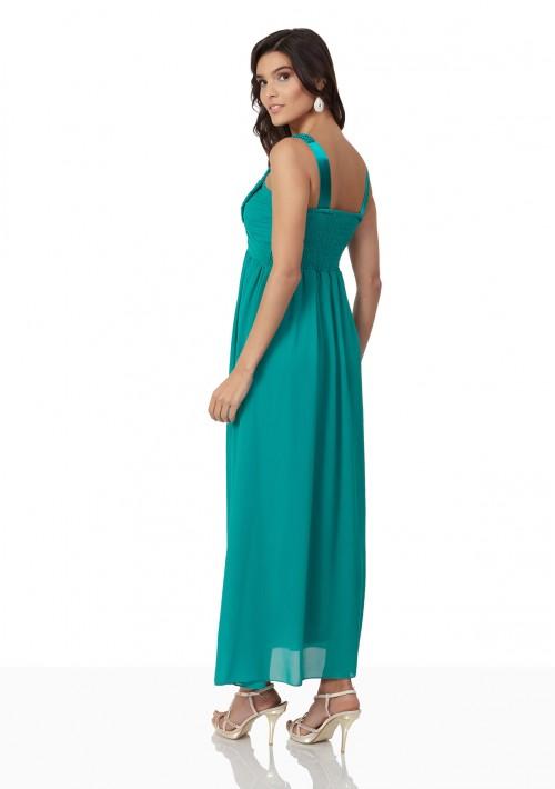 Chiffon-Abendkleid in Türkis mit Perlenbesatz - günstig bei VIP Dress