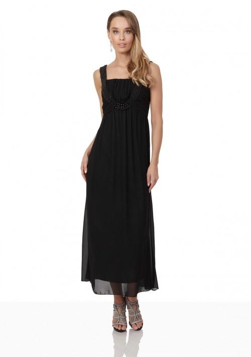 Schwarzes Abendkleid aus Chiffon mit Perlen und Raffung - günstig bei VIP Dress