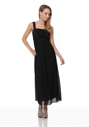 Schwarzes Abendkleid aus Chiffon mit Perlen und Raffung - günstig kaufen bei vipdress.de