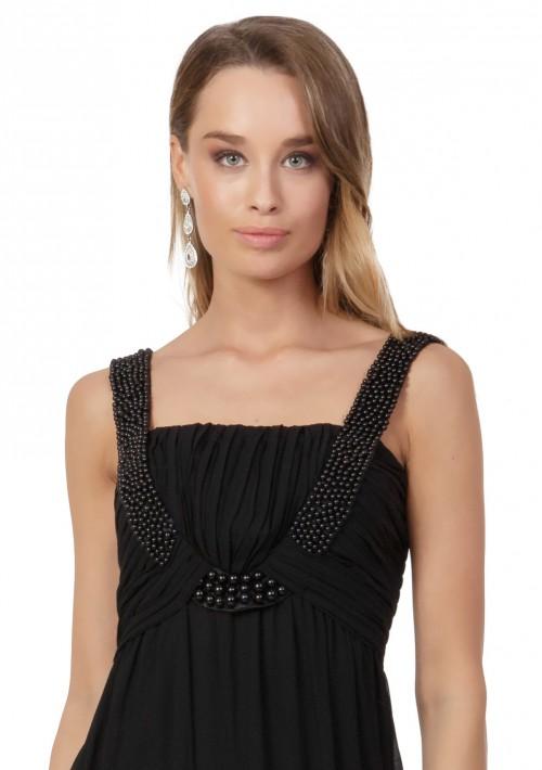 Schwarzes Abendkleid aus Chiffon mit Perlen und Raffung - günstig shoppen bei vipdress.de