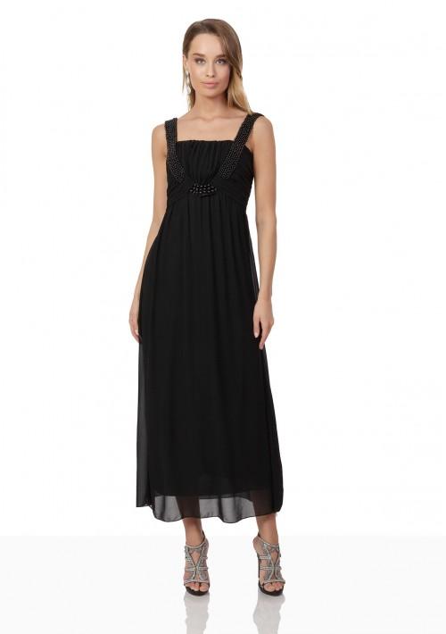 Schwarzes Abendkleid aus Chiffon mit Perlen und Raffung - bei VIP Dress online bestellen
