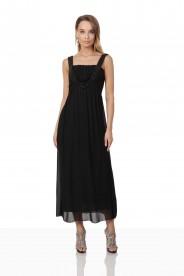 Schwarzes Abendkleid aus Chiffon mit Perlen und Raffung