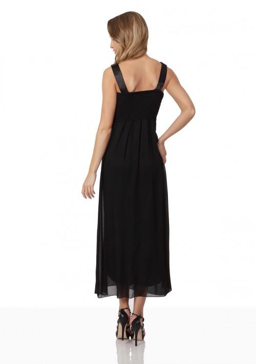 Schwarzes Abendkleid aus Chiffon mit Perlen und Raffung - bei VIP Dress günstig kaufen