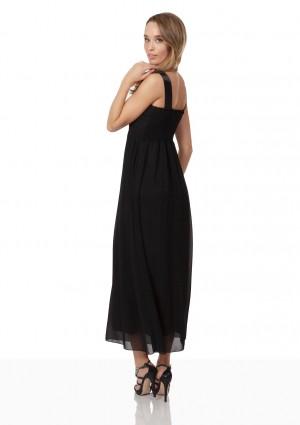 Schwarzes Abendkleid aus Chiffon mit Perlen und Raffung - bei vipdress.de günstig shoppen