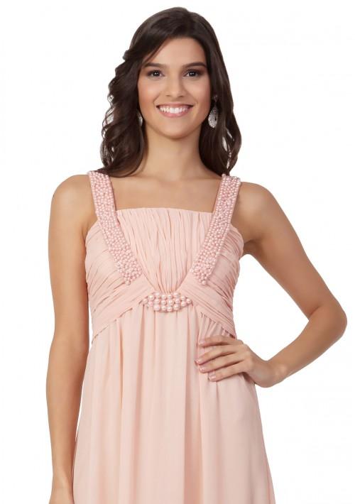Perlenbesetztes Abendkleid aus Chiffon in Rosé - bei VIP Dress online bestellen