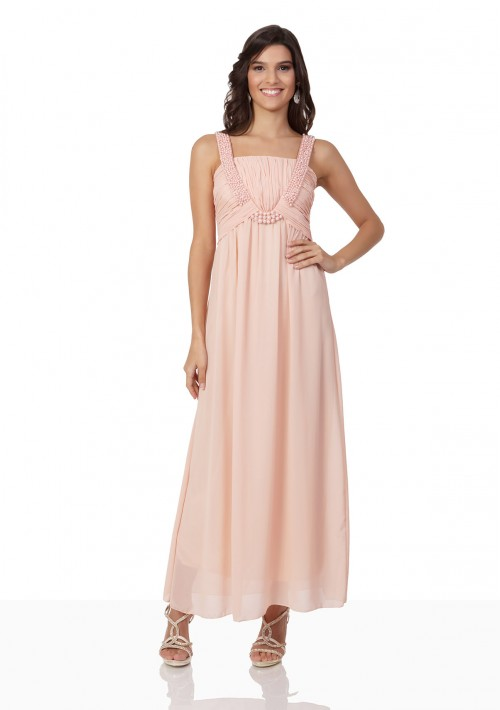 Perlenbesetztes Abendkleid aus Chiffon in Rosé - bei vipdress.de günstig shoppen