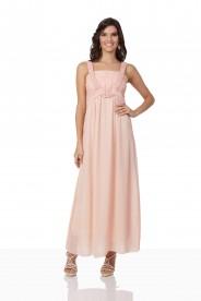 Perlenbesetztes Abendkleid aus Chiffon in Rosé