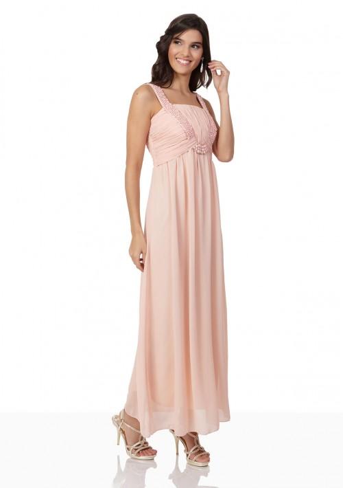 Perlenbesetztes Abendkleid aus Chiffon in Rosé - günstig bei VIP Dress