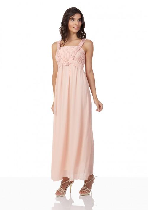 Perlenbesetztes Abendkleid aus Chiffon in Rosé - bei VIP Dress günstig kaufen