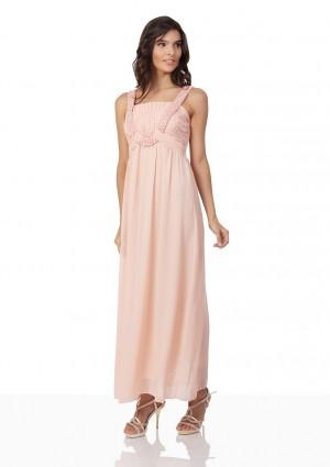 Perlenbesetztes Abendkleid aus Chiffon in Rosé - online bestellen bei vipdress.de