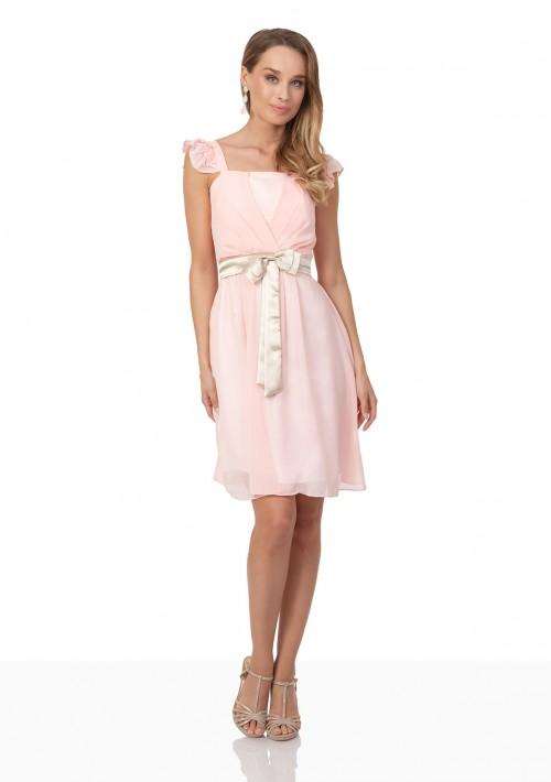 Cocktailkleid aus rosa Chiffon mit kontrastierender Schleife - günstig bei VIP Dress