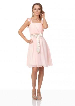 Cocktailkleid aus rosa Chiffon mit kontrastierender Schleife - schnell und günstig bei VIP Dress