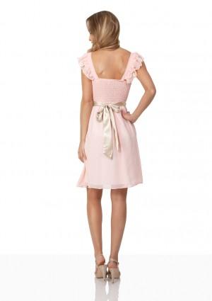 Cocktailkleid aus rosa Chiffon mit kontrastierender Schleife - günstig bestellen bei VIP Dress