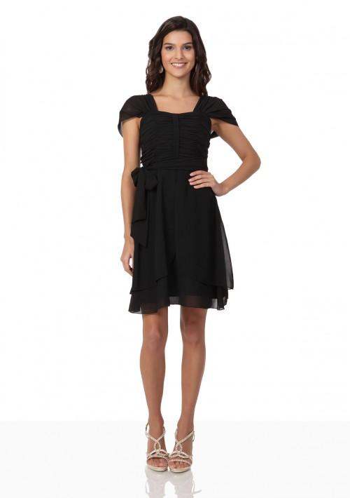 Schwarzes Cocktailkleid aus Chiffon mit Schleifen - günstig bestellen bei VIP Dress