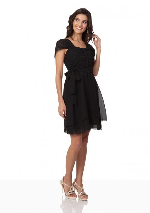 Schwarzes Cocktailkleid aus Chiffon mit Schleifen - bei VIP Dress online bestellen