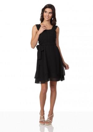 Schwarzes Cocktailkleid aus Chiffon mit Schleifen - schnell und günstig bei VIP Dress